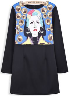 Black Long Sleeve Coins Portrait Print Dress US$45.90
