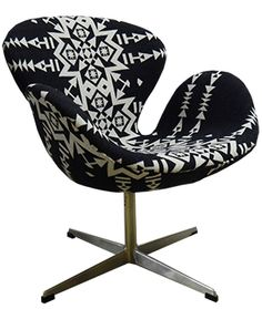 Fresh out of our workroom: A truly one-of-a-kind mid century modern Swan Chair upholstered in an amazing Pendleton blanket fabric! Swan Chair, Upholstered Chairs, Mid-century Modern, Upholstery, Mid Century, Fresh, Blanket, Random, Amazing