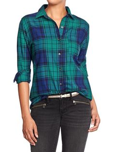 Love this emerald + navy plaid from Old Navy!