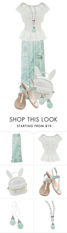 """Untitled #9638"" by queenrachietemplateaddict ❤ liked on Polyvore featuring Roberto Cavalli, WithChic, cutekawaii, BillyTheTree, white, sandals, pastel, mint and longSkirt"
