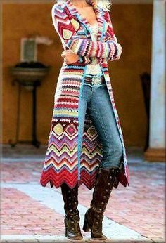 Granny square and chevron full length coat: http://tidd.ly/4e826cfc (affiliate) -Pamela #crochet #crafts #art