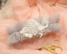 MORE COLOR Romantic Light Gray Garter Tulle Blue Mint Black White Pink Lace Feather Luxury Bridal Honeymoon Lingerie Keepsake Toss Lolita