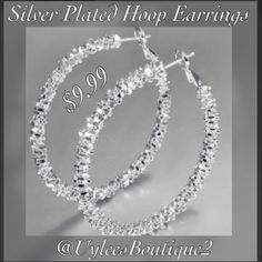 """✨Silver Plated Hoop Earrings These are a beautiful pair of pierced 925 silver plated earrings. Gorgeous set! Can be worn with a casual pair of jeans, or with a lovely formal dress! Length:40MM Weight:14g Color:Sliver Metal:925 Sterling Silver Plated (This is a """"new"""" item)    This item ships immediately to US addresses. 📦 Also available for international shipping. However, please note that international Shipping can take up to three weeks to arrive. 🌎 
