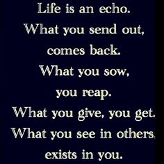 "Life is an echo. ""What you see in others, exists in you"" - particularly relevant for me."