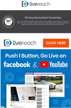 """the Best Livecast Desktop Software allows you to take ANY pre-recorded video and play it """"Live"""" on Facebook and/or YouTube – simultaneously. #LiveReachSoftware #LivecastDesktopSoftware #BestSoftwareForYoutubeLive #BestSoftwareForFacebookLive"""
