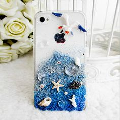 Starfish iPhone 5 Case - Ocean Seashell iPhone4 Case -Beach iPhone Case -Bling Samsung Galaxy Case - Flying Bird Case