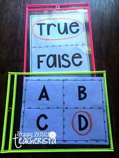 Dry Erase Pockets. This blog details the many ways this teacher uses write on wipe off sleeves in her classroom!