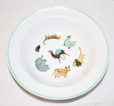"ARABIA OF FINLAND ANIMAL PARADE CHILD'S BOWL 6-1/2"" L"
