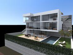 #Exterior #Jardin #Piscina #moderno #casas via @planreforma #fachada #render-maquetadiseñado por AC-tectes - Arquitecto