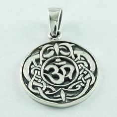 LORD SHIVA OM ROUND SHAPED PENDANT 925 HANDMADE STERLING SILVER…
