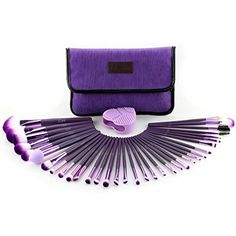 Glow Purple Professional Make-up brush set; contain 34 make up brushes, 1 makeup brushes cleaner/ scrubber and 1 makeup brushes bag/ makeup brush holder ** Read more at the image link. (This is an affiliate link) Affordable Makeup Brushes, Best Makeup Brushes, How To Clean Makeup Brushes, Makeup Tools, Best Makeup Products, Diy Makeup Brush, Makeup Brush Cleaner, Eye Makeup Art, Makeup Brush Holders