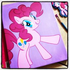 Pinkie Pie canvas painting by me, just love my little pony