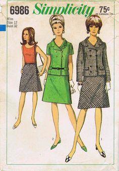 SALE 1960s Misses Blouse Jacket Skirt Suit Simplicity 6986