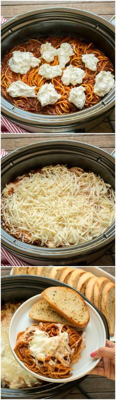 Slow Cooker Baked Spaghetti. This deluxe spaghetti is such a treat! It has a creamy layer baked in! /ragusauce/ #homestylesauces #ad