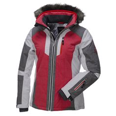 Killtec, Kamryn softshell ski jacket, ladies, White - grey - red  Ski jacket with soft touch and nice fake fur trim. This Kamryn softshell jacket ski jacket from Killtec is a real fashion item for the slopes. The jacket is waterrepellent and breathable and is therefore very suitable for the slopes, especially on the warmer days. If you go skiing early or late in the season and enjoy milder weather circumstances, this is the jacket for you.