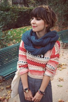 braid scarf, outfits, sweater, red, cloth