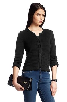 Cardigan with a hook fastener 'F4715', Black