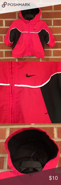 Infant Mesh-lined Red and Black Nike Jacket Red, black, with white trim Nike jacket. 6-9 months. This jacket has been gently used, but looks in great condition. Some paint has chipped off the zipper pull--the only sign of wear that I see. Please see photos and ask questions prior to purchasing. Nike Jackets & Coats