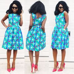 African ankara women dress with two sides pockets by Veroexshop