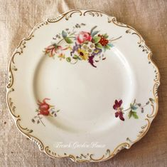 Antique Old Paris Porcelain Hand Painted Floral Plates Set 5