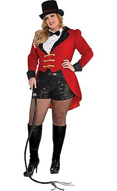 Steal the show in a sexy, plus-size ringmaster costume. This Circus Ringmaster Costume Plus Size includes a tailcoat, a tuxedo bodysuit, sequin shorts, and a top hat. Halloween Costumes Plus Size, Plus Size Costume, Halloween Fancy Dress, Halloween Kostüm, Halloween Outfits, Halloween Carnival, Couple Halloween, Dress Up Costumes, Adult Costumes