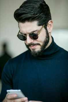 25 Best Mens Sunglasses Trends 2019 - The Finest Feed Best Mens Sunglasses, Gold Aviator Sunglasses, Trending Sunglasses, Nice Sunglasses, Prada Sunglasses, Hair And Beard Styles, Hair Styles, Slicked Back Hair, Moustache