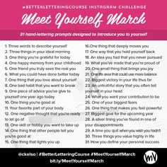 Meet Yourself March: An Instagram Challenge for Soulful Creatives — Made Vibrant #handlettering #lettering #dailychallenge