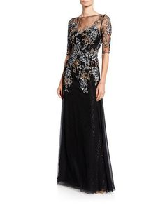 Rickie Freeman for Teri Jon Metallic Floral Embroidered Elbow-Sleeve Overlay Gown - Bergdorf Goodman Dress Outfits, Fashion Dresses, Sequin Gown, Beaded Trim, Designer Gowns, Tulle Dress, Ball Gowns, Evening Dresses, Sequins