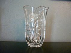 Vintage Crystal Vase - Oval Shape with Hummingbird and Flower Design from Sweet Mayberry on Etsy $25