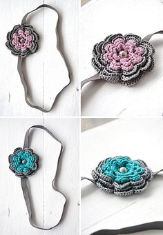 crochet flower headbands (in teal and metallic pink)