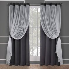 Exclusive Home Catarina Layered Solid Blackout and Sheer Window Curtain Panel Pair with Grommet Top, Black Pearl, 52x63, Gray