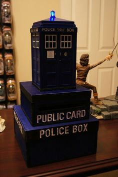 Cards went into this Tardis box. | This Couple Just Had The Ultimate Geek Wedding