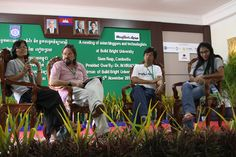 "The Asia Foundation | 14 November 2012: ""Bloggers Discuss Internet Freedom at 2012 BlogFest in Cambodia"" (From left to right, Panelists Sopheap Chak of Global Voices and Cambodian Center for Human Rights (CCHR), David Isaksson of Spider (moderator), Moses Ngeth of Community Legal Education Centre, and Ramana Sorn of CCHR participate in a discussion titled ""Practical Aspects of Internet Empowerment: Gender, Language & Civic Engagement"" at the third BlogFest, held in Siem Reap.)"