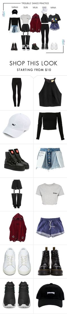 """""""ARIA (아리아) - 'TROUBLE' Dance Practice"""" by ariaofficial ❤ liked on Polyvore featuring J Brand, Puma, Unravel, Topshop, H&M, adidas Originals, Dr. Martens and GET LOST"""