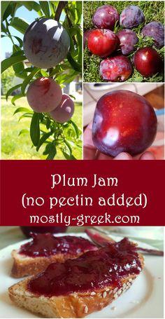 Plum Jam (no added pectin) Plum Recipes Vegan, Plum Jam Recipes Easy, Plum Jelly Recipes, Fruit Recipes, Recipies, Plum Jam Without Pectin, Plum Freezer Jam, Jam And Jelly, Fig Jelly