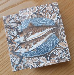 Angie Lewin 'Sea to Plate' - an early large linocut, then printed in two spot colours lithographically to form a concertina folding card http://www.angielewin.co.uk