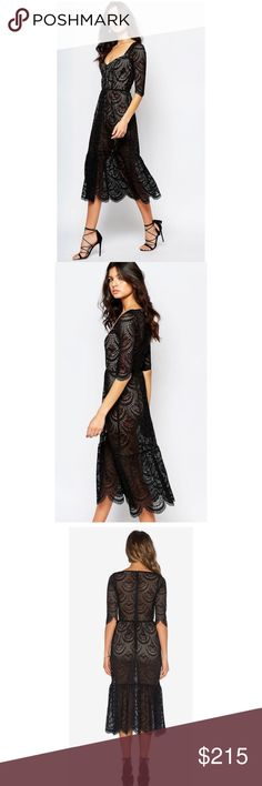 For love and lemons Rosalita dress A hint of sexiness with a touch of romance, the Rosalita Dress is all we dream about these days. Designed on a gorgeous black lace, this midi dress features a scalloped lace hem to adorn its beautiful details while keeping you covered with the built in nude bodysuit. For Love and Lemons Dresses Midi