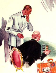 White dinner jacket from an illustration on cruise or resort wear, February 1934. Esquire.