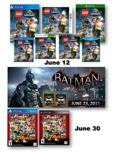Lanzamientos Nuevos de Junio! Vaya a la sección de nuevo lanzamientos de nuestro sitio web y pre-ordénalo!  #mayorista #distribuidores #videojuegos #jogos #xboxone #xbox #xbox360 #ps3 #ps4  #psv #psvita #vita #3ds #wii #wiiu #mayoristadevideojuegos #distribuidoresdevideojuegos #ventasdevideojuejos #LEGO #JurassicWorld #Batman #PayDay2 #jstarsvictoryvs #LordOfMagna #Splatoon #TheWitcher