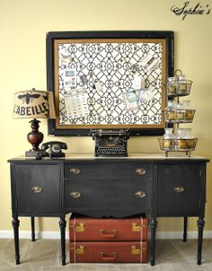 Sophia's: Thrifted sideboard painted black with $5 flea market frame turned into memo board