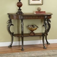Powell Furniture Masterpiece Floral Demilune Console Table with Horse head, Hoofed-foot Cast Legs & Display Shelf Foyer Furniture, Powell Furniture, Find Furniture, Living Room Furniture, Furniture Ideas, Small Entry Tables, Entryway Tables, Entryway Ideas, Demilune Table