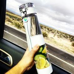 Road tripping to Cali with my infused water on the go! Love it!!  Cucumber, lemon and mint all in the Define Bottle.  Great design guys- has a strainer in the middle so  you don't get the pulp, seeds and fruit rising up to your mouth!
