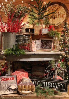 Christmas display @ our shop  Retail Christmas display ideas  Timeworn Treasures | Danville PA