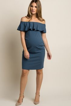 813b934e4ae Teal Off Shoulder Ruffle Fitted Maternity Dress