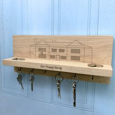 Personalised Mansion House Key Holder by Urban Twist, the perfect gift for Explore more unique gifts in our curated marketplace. Family Tree Wall, Tree Wall Art, Wooden Key Holder, Mansion Designs, House Keys, Home Organisation, Photo Wall Art, Mansions Homes, On The High Street