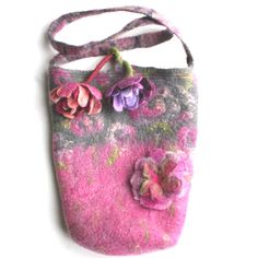 Wet Felted Bag Purse with Felted Flowers and ★by FrouFrouFelt