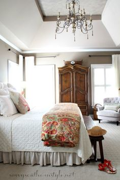 Summer Color and Whimsy in the Master, adding fun color with a duvet and pillows.