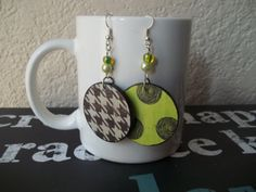 Black Houndstooth Print Earrings Lime Green by CraftyGalBoutique