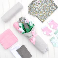 New Baby Girl Gift, Baby Clothes Flower Bouquet by Baby Blossom Company Baby Girl Nursery Themes, Baby Girl Shower Themes, Baby Boy Shower, Baby Boy Pictures, Baby Girl Photos, New Baby Girls, Baby Girl Gifts, Gifts For My Wife, Gifts For Girls