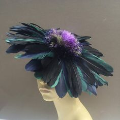 Feather Flower Fascinator Mini Hat Beret Millinery Green